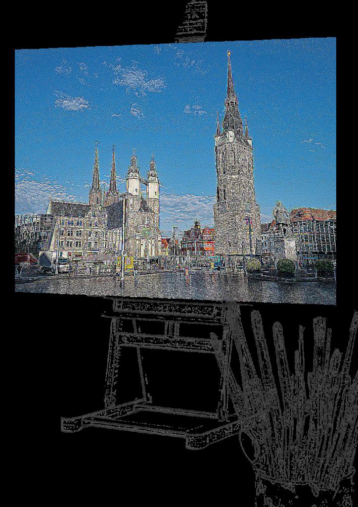 Pinsel und Staffelei mit digital gemaltem Bild